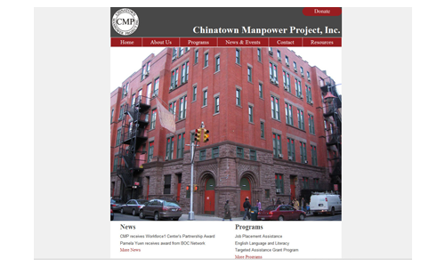 Chinatown Manpower Project Homepage Design