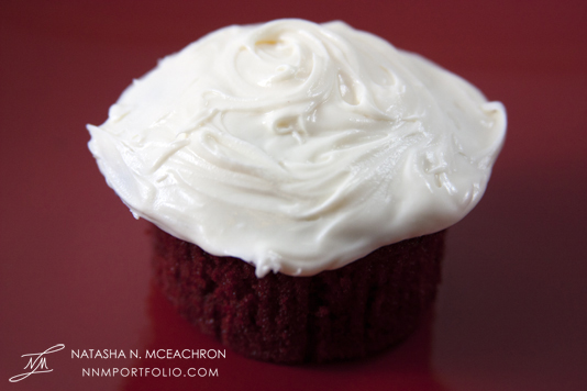 Red Velvet Cupcake with Cream Cheese Frosting - Red Background