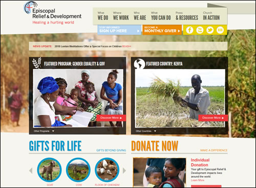 Episcopal Relief & Development Website Homepage